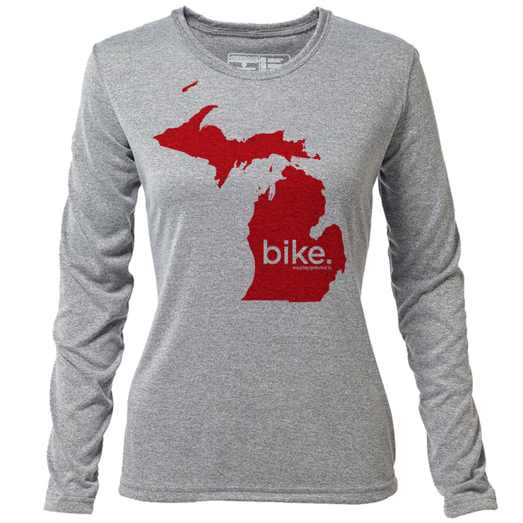 bike. Michigan + Womens LS Hybrid T