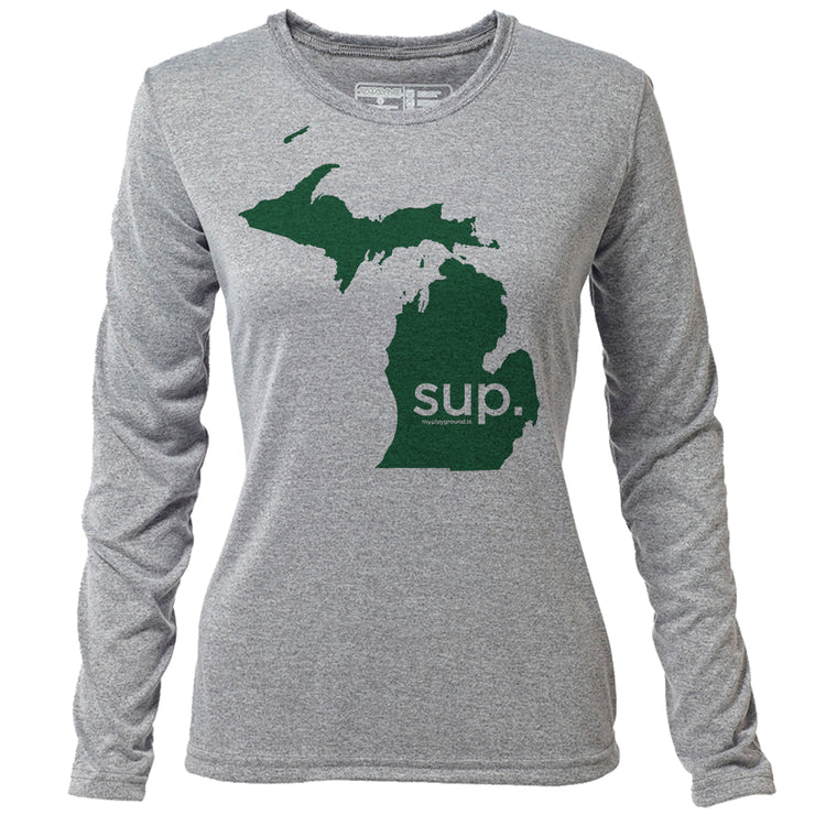 SUP. Michigan + Womens LS Hybrid T