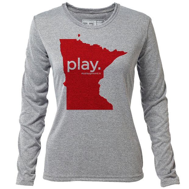 play. Minnesota + Womens LS Hybrid T