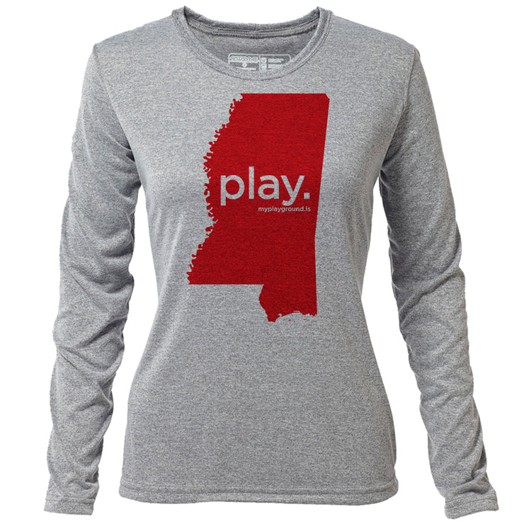 play. Mississippi + Womens LS Hybrid T