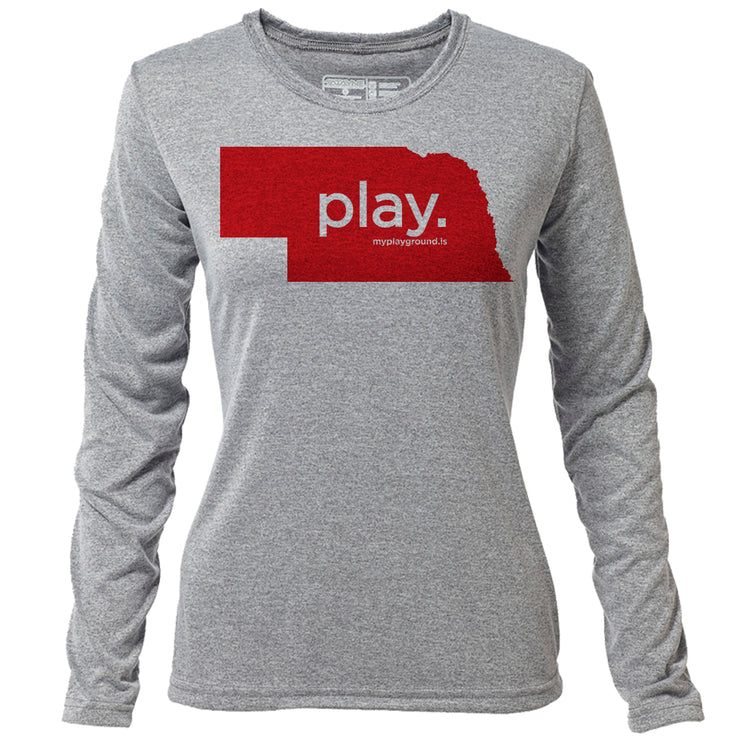 play. Nebraska + Womens LS Hybrid T