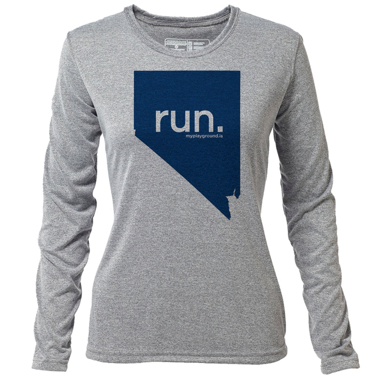 run. Nevada + Womens LS Hybrid T