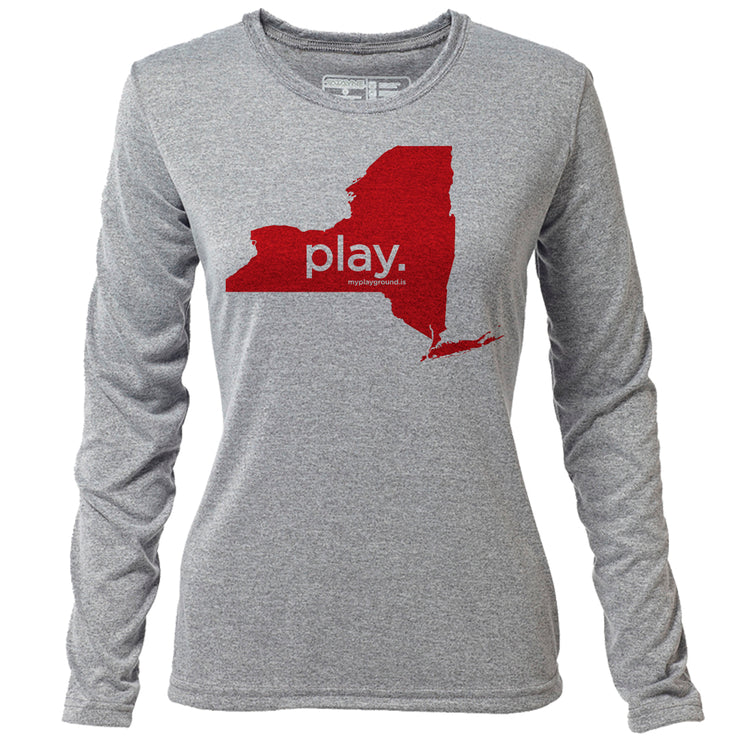 play. New York + Womens LS Hybrid T