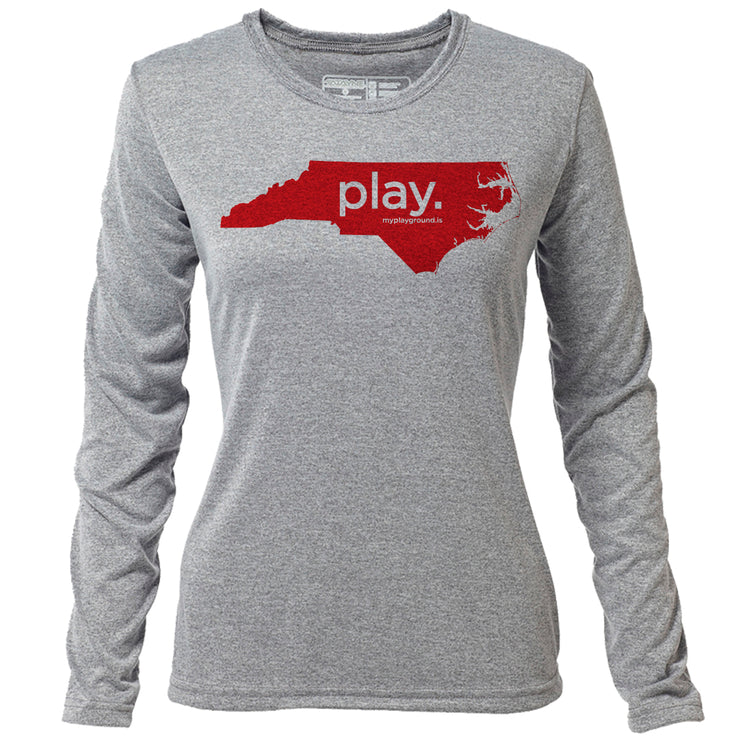 play. North Carolina + Womens LS Hybrid T