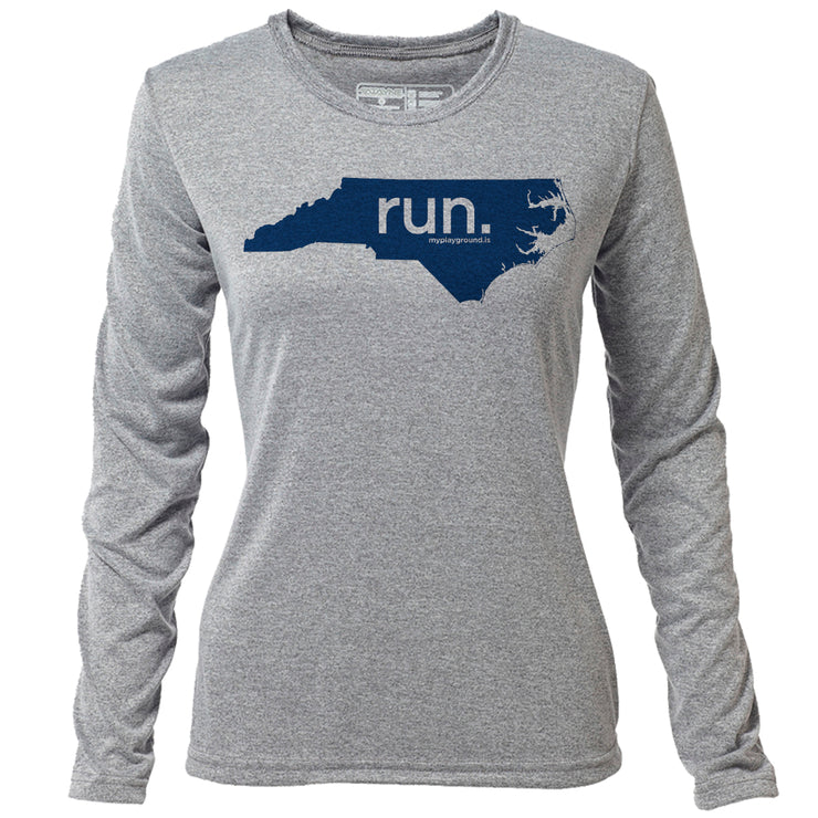 run. North Carolina + Womens LS Hybrid T