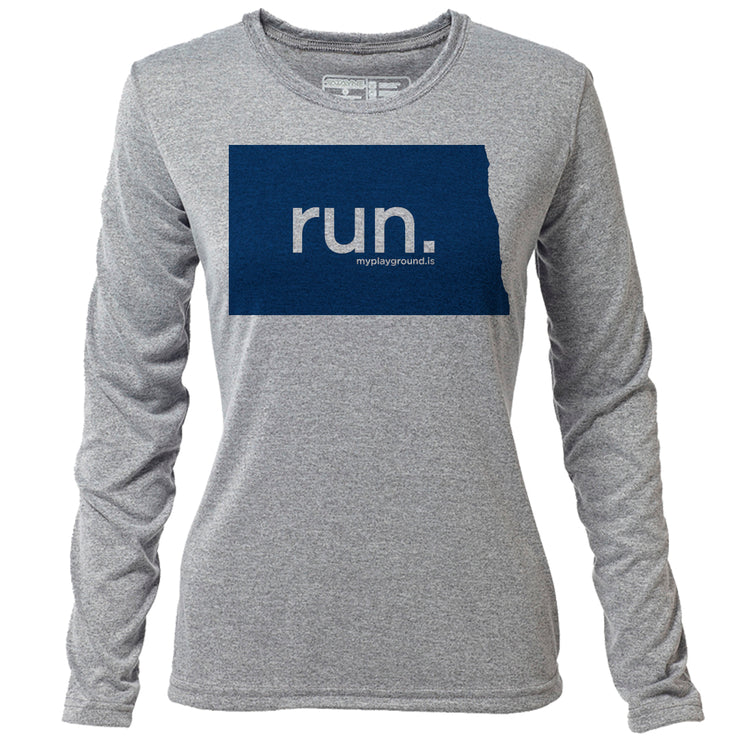 run. North Dakota + Womens LS Hybrid T