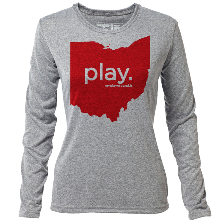 play. Ohio + Womens LS Hybrid T