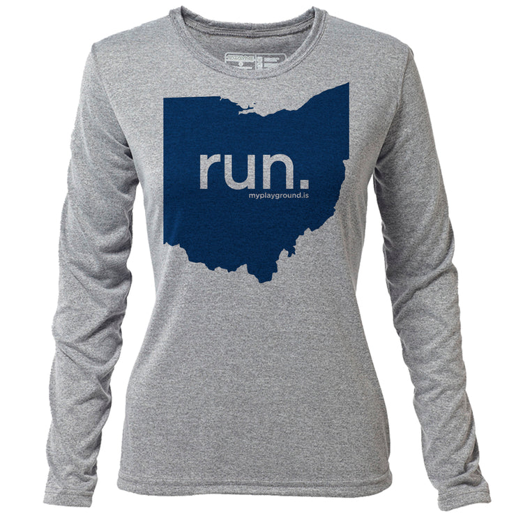 run. Ohio + Womens LS Hybrid T