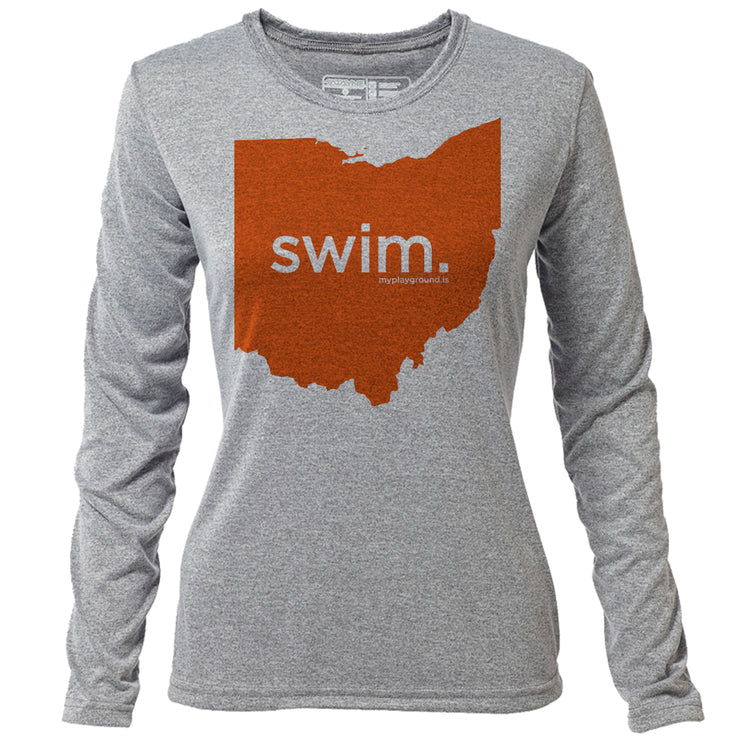 swim. Ohio + Womens LS Hybrid T