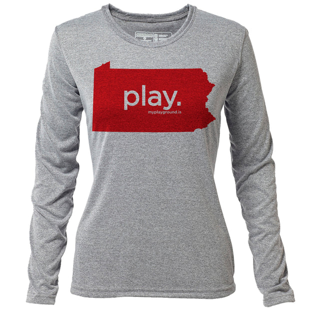play. Pennsylvania + Womens LS Hybrid T