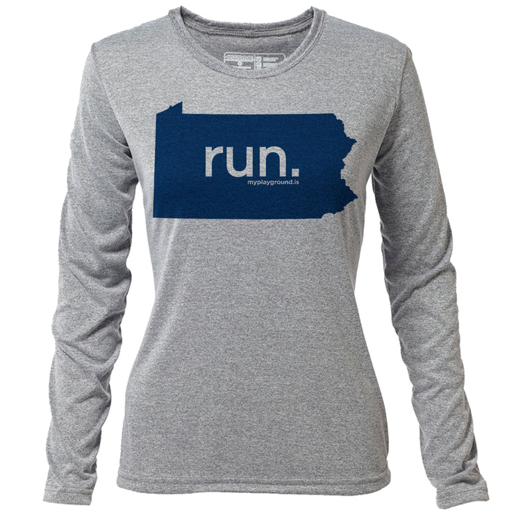 run. Pennsylvania + Womens LS Hybrid T