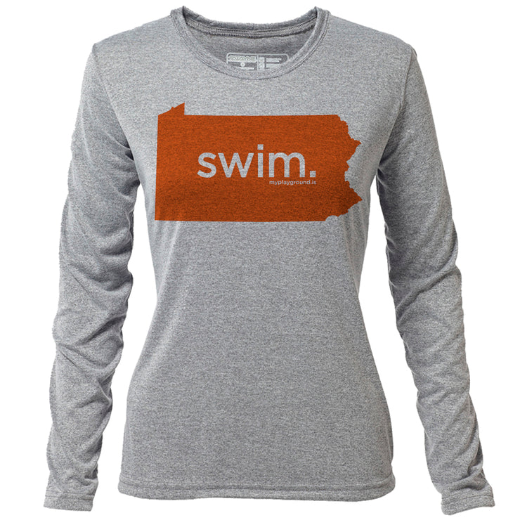 swim. Pennsylvania + Womens LS Hybrid T