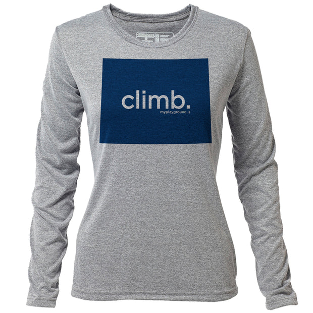 climb. Wyoming + Womens LS Hybrid T
