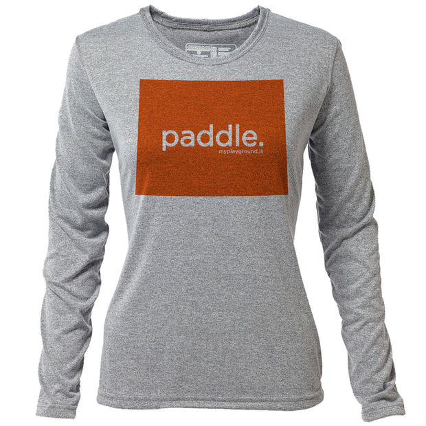 paddle. Wyoming + Womens LS Hybrid T