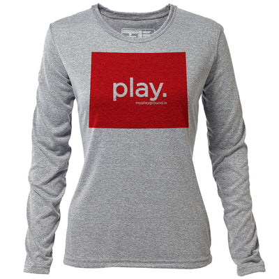 play. Wyoming + Womens LS Hybrid T