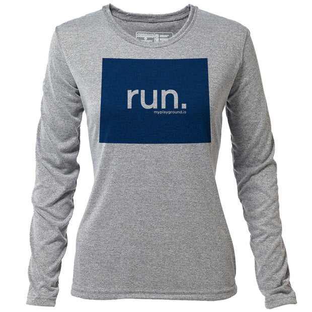 run. Wyoming + Womens LS Hybrid T