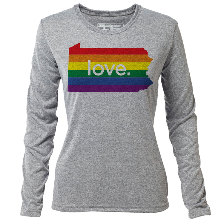 love. Pennsylvania + Womens LS Hybrid T