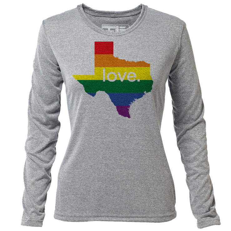love. Texas + Womens LS Hybrid T