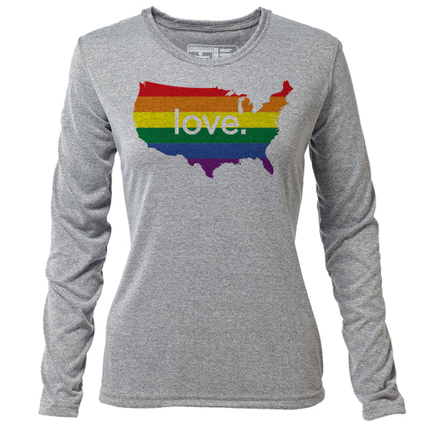 love. United States + Womens LS Hybrid T