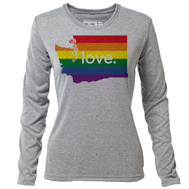 love. Washington + Womens LS Hybrid T