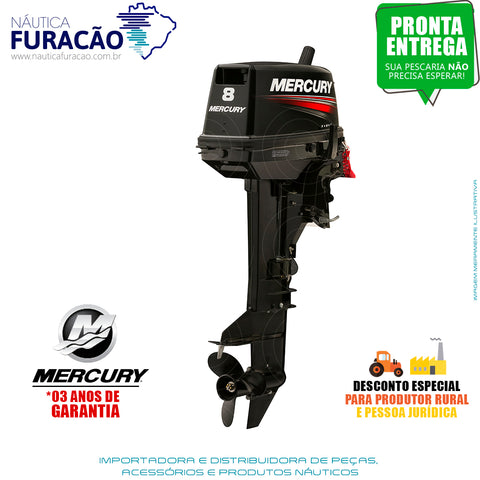 MOTOR DE POPA MERCURY 2 TEMPOS 8HP ML (PARTIDA MANUAL)