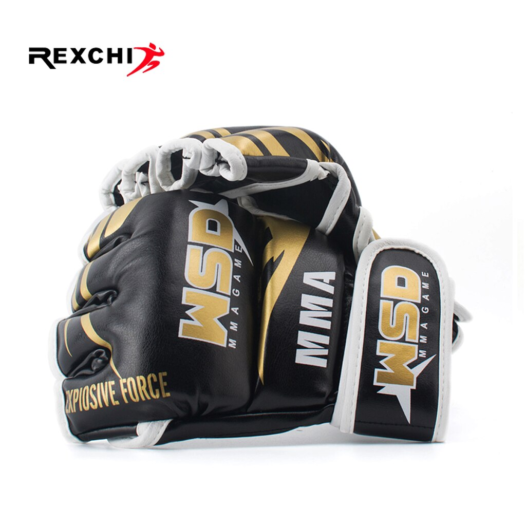 REXCHI Half Finger MMA Gloves for Men PU Kicki Boxing Karate Muay Thai Guantes De Boxeo Free Fight Sanda Training Equipment