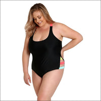 Lysa Women's Plus Size Caddy Scoop Neck Color-Block One Piece Swimsuit 0X 1X 2X 3X