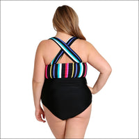 Lysa Women's Plus Size Paris Vertical Stripe One Piece Swimsuit 0X 1X 2X 3X