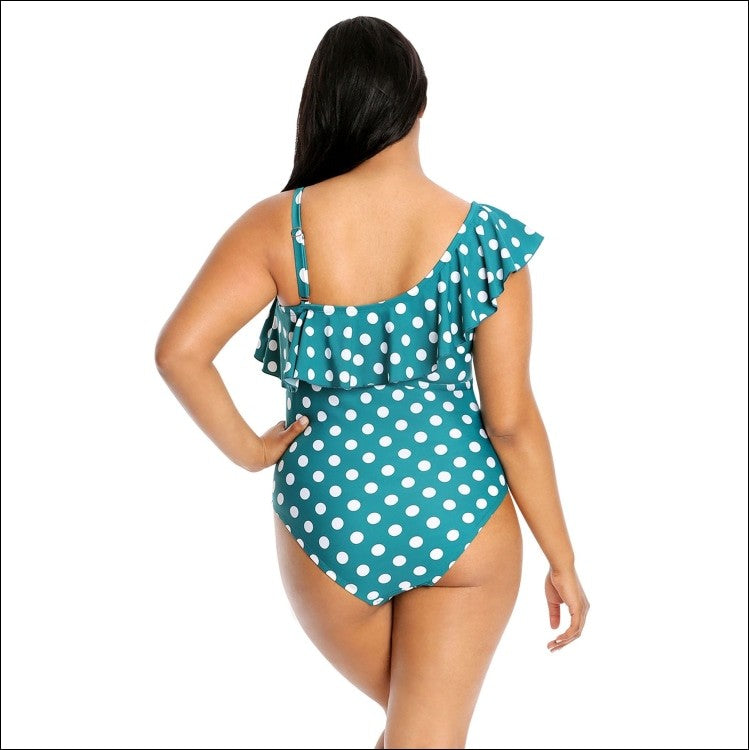 Lysa Women's Plus Size Raya Ruffle Single Shoulder One Piece Swimsuit 0X 1X 2X 3X