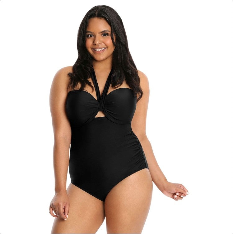 Lysa Women's Plus Size Heather Halter One Piece Swimsuit 0X 1X 2X 3X