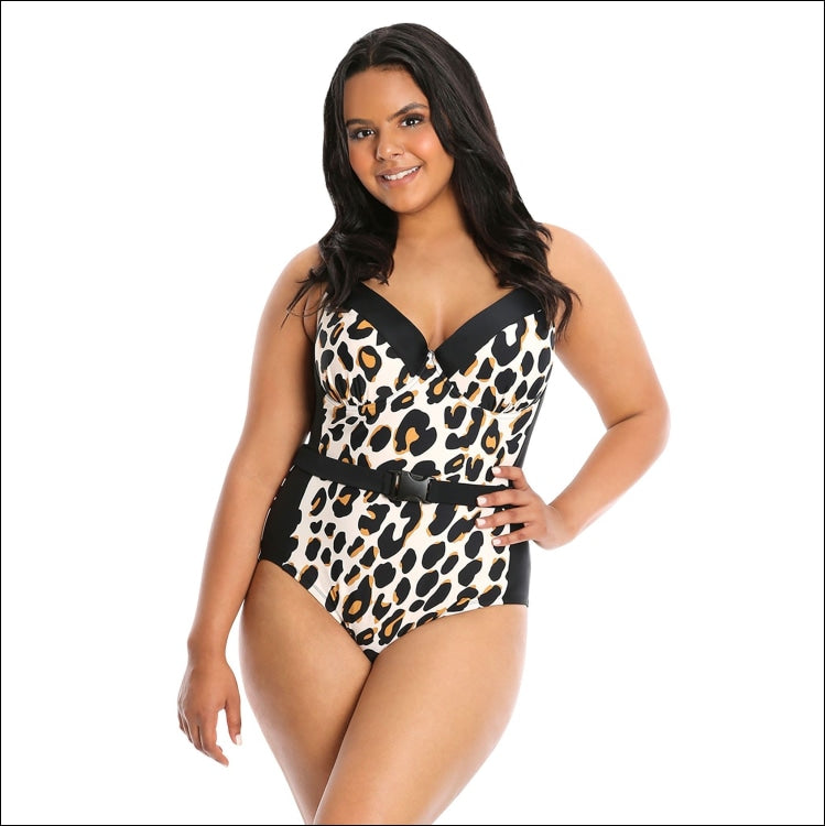 Lysa Plus Extended Sizes Beth Cheetah Belted One Piece Swimsuit 0X 1X 2X 3X