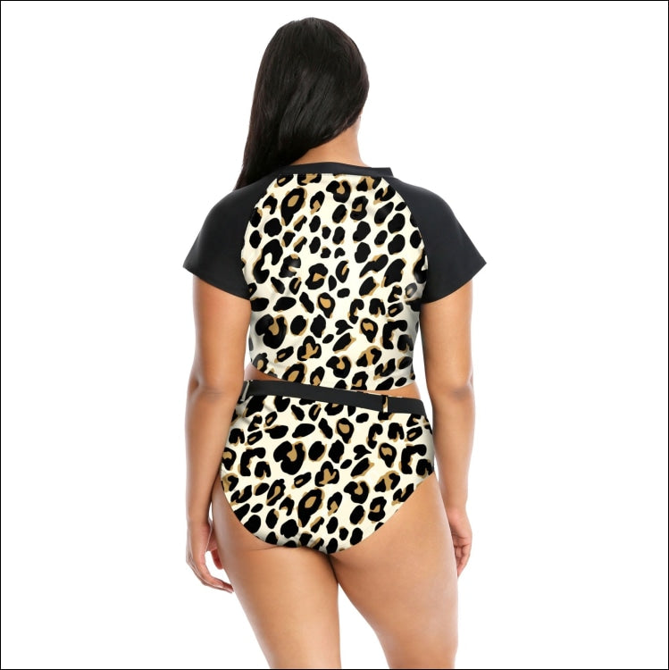 Lysa Plus Extended Sizes Kori Cheetah 2 Piece Crop Top Bikini Swimsuit Set 0X 1X 2X 3X