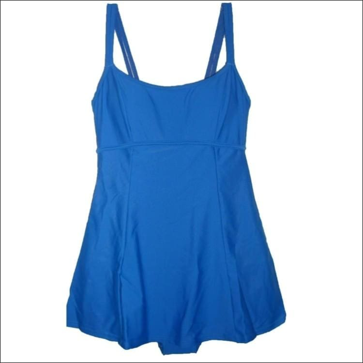 Aliana Womens Solid Swimsuit Swimdress 8 10 - 8 / Blue - Swimsuits