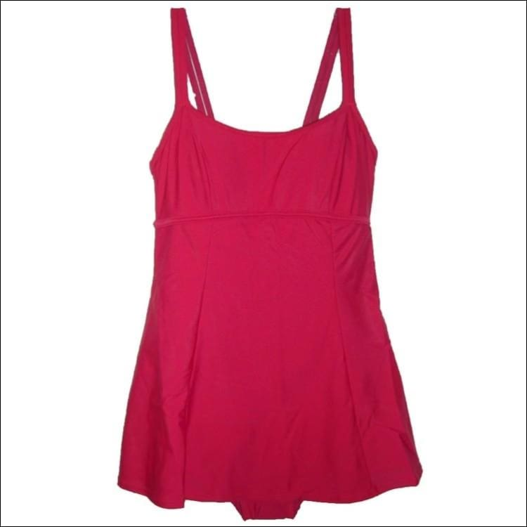 Aliana Womens Solid Swimsuit Swimdress 8 10 - 10 / Cherry Red - Swimsuits