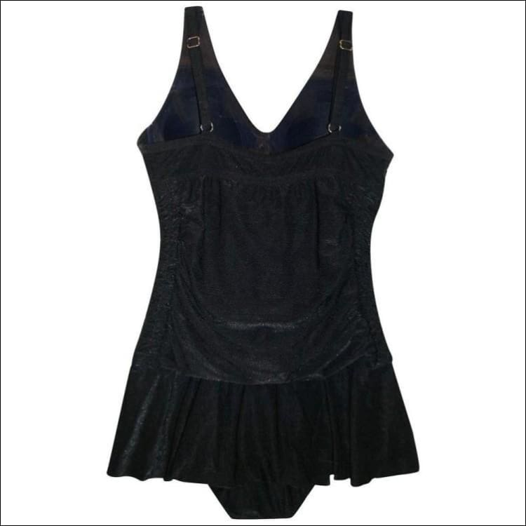 Black Shimmer 1 Piece Skirted Bathing Suit Size 8-10 - Womens