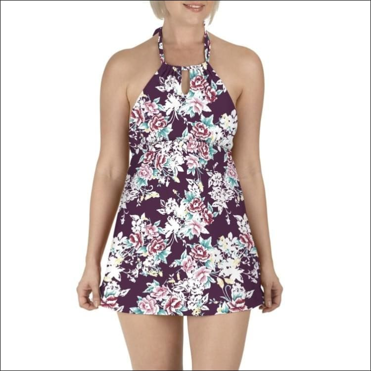 Carole Hochman Womens Keyhole Swimdress Swimsuit 8-14 - 8 / Plum Floral - Womens