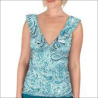 Carole Hochman Womens Ruffle Plunge Tankini Swimsuit Top Black and Teal Water Paisley - 10 / Teal Water Paisley - Swimsuits