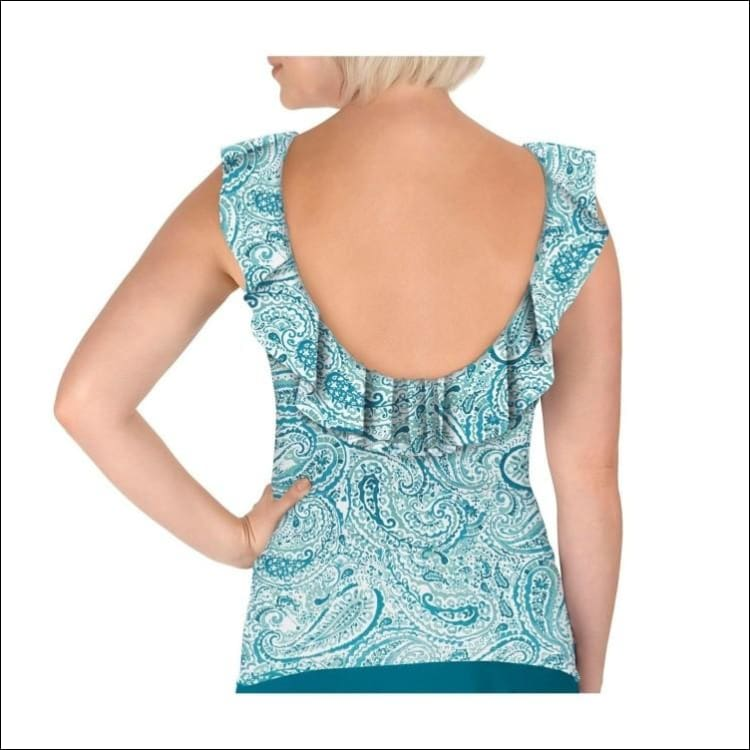 Carole Hochman Womens Ruffle Plunge Tankini Swimsuit Top Black and Teal Water Paisley - Swimsuits