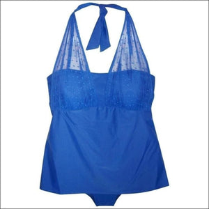Christina Womens Plus Size 2 Piece Tankini Swimsuit Mesh Halter Bikini 1X 3X - 3X (24) / Blue - Womens