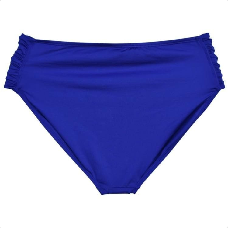 Cole of California Womens Plus Size Super Solids Side Tab Bikini Bottoms Blue 1X - Womens