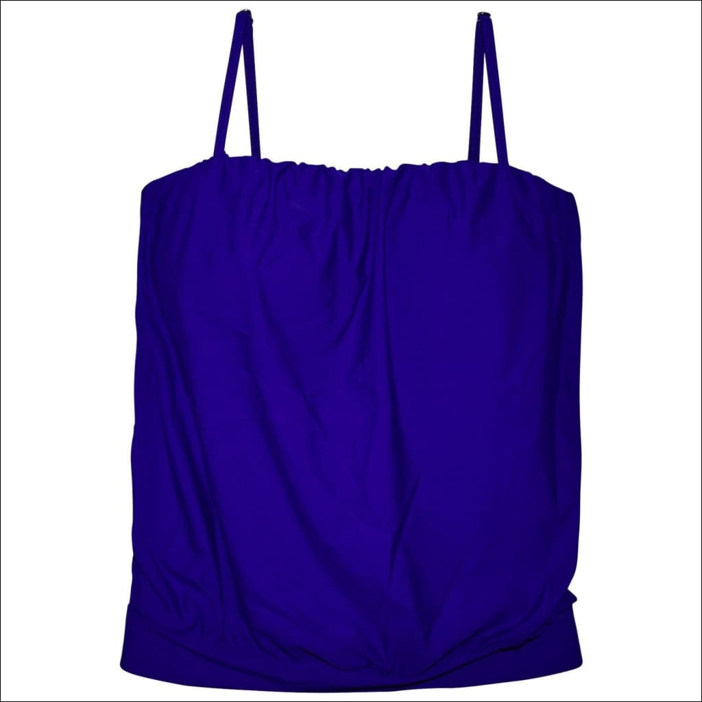 Heat Womens Blouson Tankini Swimsuit Top Blue S M L - Small / Royal Blue - Womens