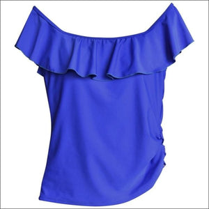Heat Womens Off The Shoulder Ruffle Tankini Swimsuit Top Black and Royal Blue S M L XL - Small / Royal Blue - Womens