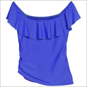 Heat Womens Off The Shoulder Ruffle Tankini Swimsuit Top Black and Royal Blue S M L XL - Womens