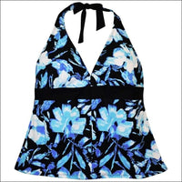 Heat Womens Plus Size Halter Tankini Swimsuit Top 18W 20W 22W 24W - 18W / Blue Black Floral - Womens
