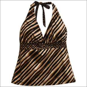 Heat Womens Plus Size Halter Tankini Swimsuit Top 18W 20W 22W 24W - 18W / Safari - Womens