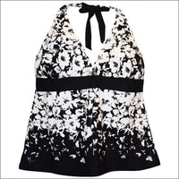 Heat Womens Plus Size Halter Tankini Swimsuit Top 18W 20W 22W 24W - 20W / White Black Floral - Womens