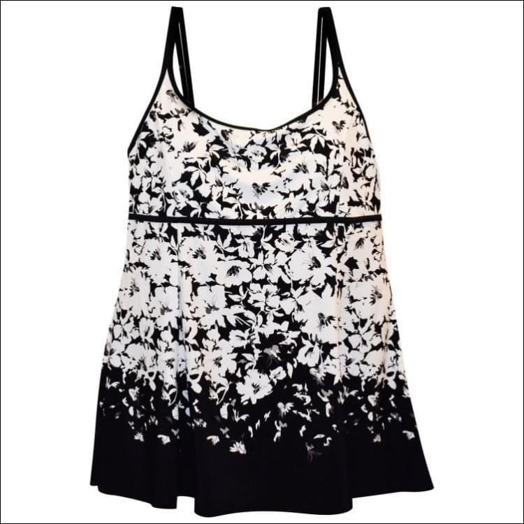 Heat Womens Plus Size Scoop Swimdress Swimsuit 18W 20W 22W 24W - 18W / Black White Floral - Womens