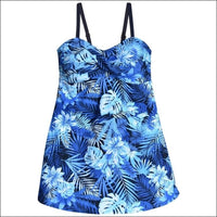 Heat Womens Plus Size Swimdress Swimsuit Twisted Front Blue Sea Dreams - 18W / Blue Sea Dreams - Womens