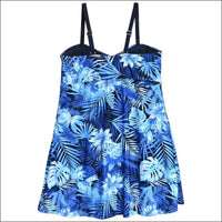 Heat Womens Plus Size Swimdress Swimsuit Twisted Front Blue Sea Dreams - Womens