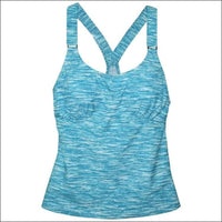 Heat Womens Racer Back Tankini Swimsuit Top S-XL - Small / Teal Sky - Womens